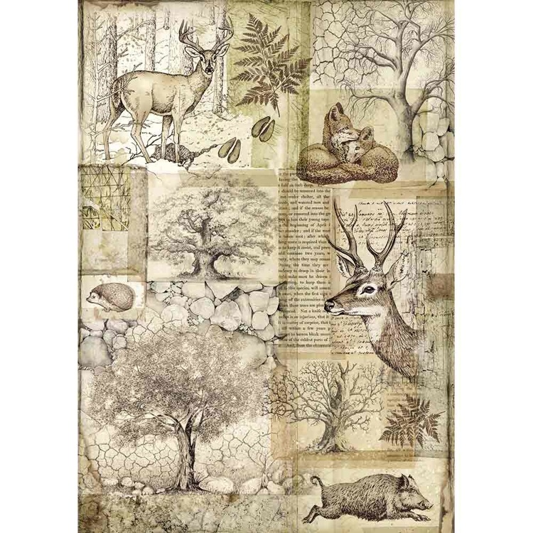 Stamperia - Rice Paper A4 - Deer and Wild Boar