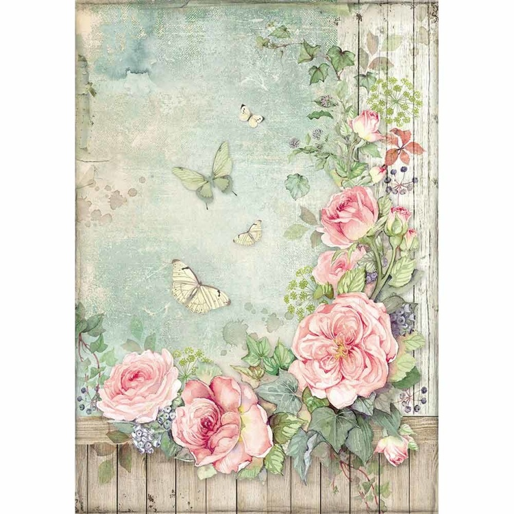 Stamperia - Rice Paper A4 - Roses Garden with Fence