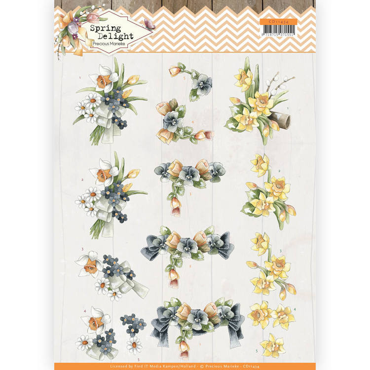 3D cutting sheet - Precious Marieke - Spring Delight - Violets and Daffodils