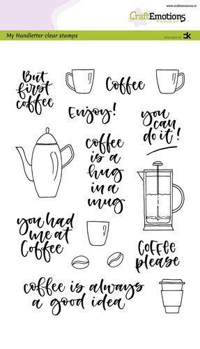 CraftEmotions - Clearstamps A6 - Handletter Coffee Please