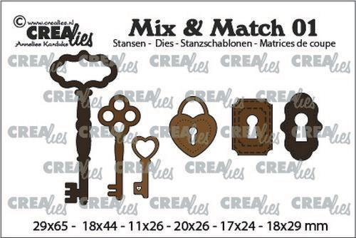 Crealies - Mix & Match stansmal - 3x sleutels / 2x slot / 1x hangslot