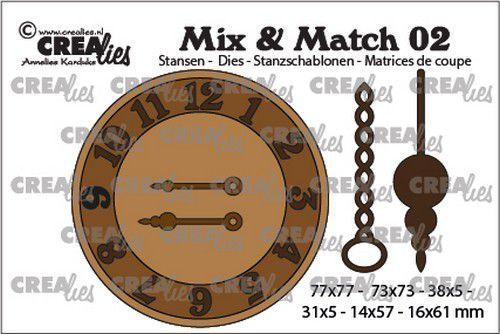 Crealies - Mix & Match stansmal - Klok met ketting en slinger
