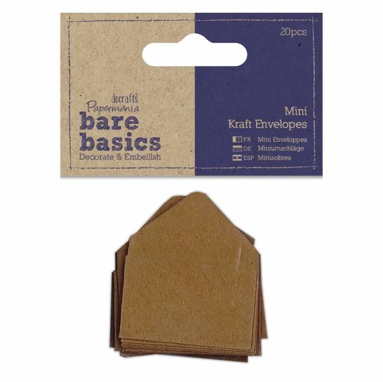 Papermania - Bare Basics - Mini Kraft Envelopes Brown (20pcs)