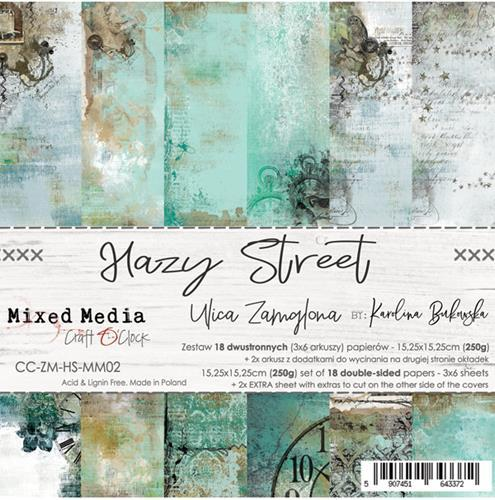 Craft O' Clock - Mixed Media Collection - Hazy Street - Paperpad 15,2 x 15,2 cm