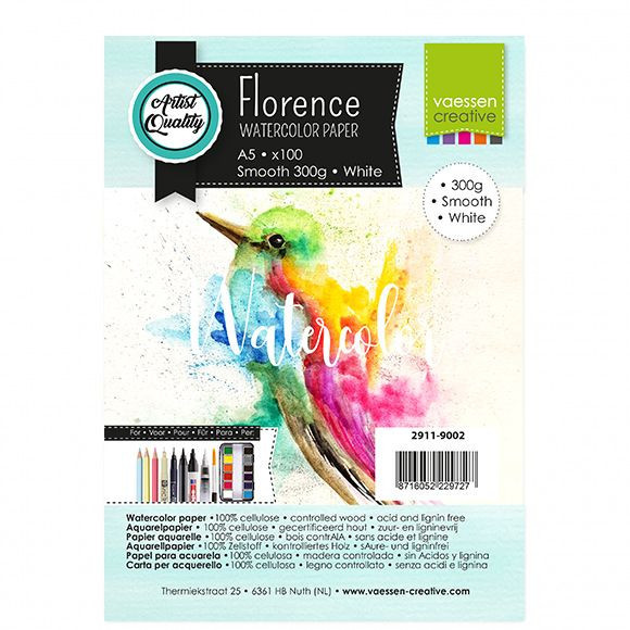 Florence - Aquarelpapier Smooth 300g - Intense White - A5 - (x100)