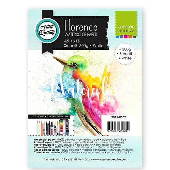 Florence - Aquarelpapier Smooth 300g - Intense White - A5 - (x15)