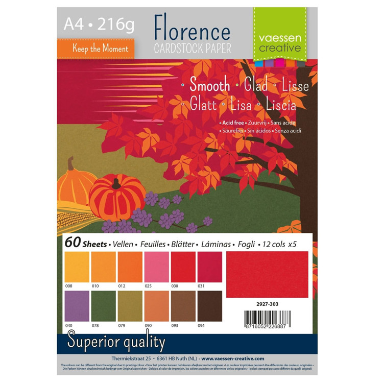 Florence Cardstock - A4 - Smooth - Set Autumn (60 vel)