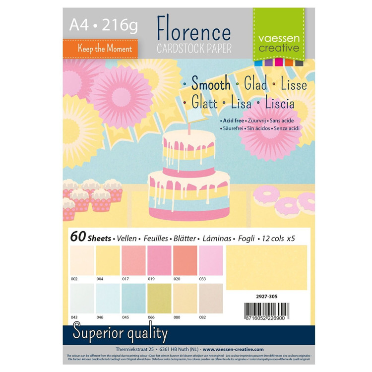 Florence Cardstock - A4 - Smooth - Set Pastel (60 vel)