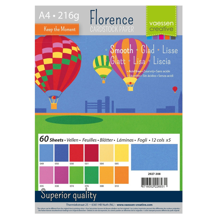 Florence Cardstock - A4 - Smooth - Set Primary (60 vel)