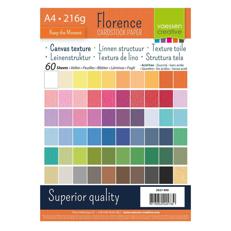Florence Cardstock - A4 - Texture - Set Multipack Assortie (60 vel)