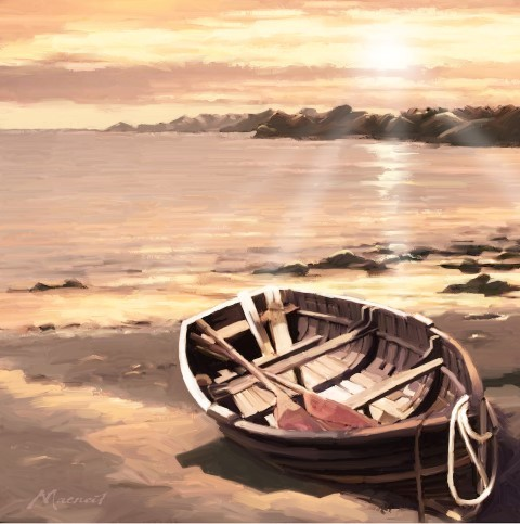 Diamond Painting - Crystal Art kit - Sunset Boat (30 x 30 cm)