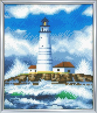 Diamond Painting - Crystal Art kit - The Lighthouse (21 x 25 cm) Incl photoframe