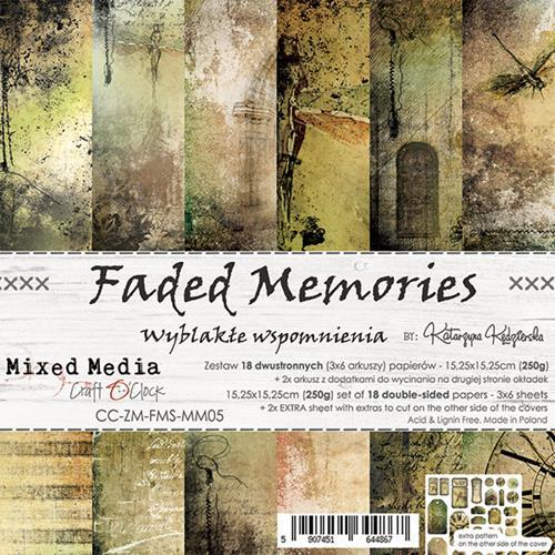 Craft O' Clock - Mixed Media Collection - Faded Memories - Paperpad 15,2 x 15,2 cm