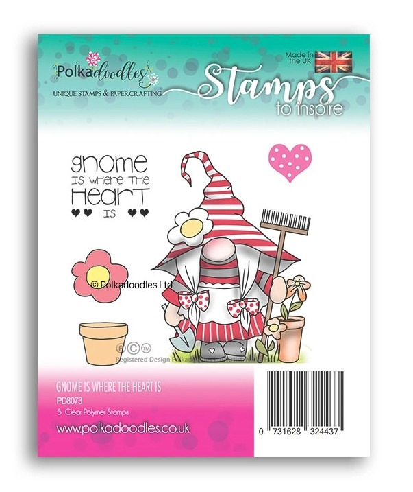 Clearstamp Polka Doodles - Spring - Gnome is Where the Heart Is