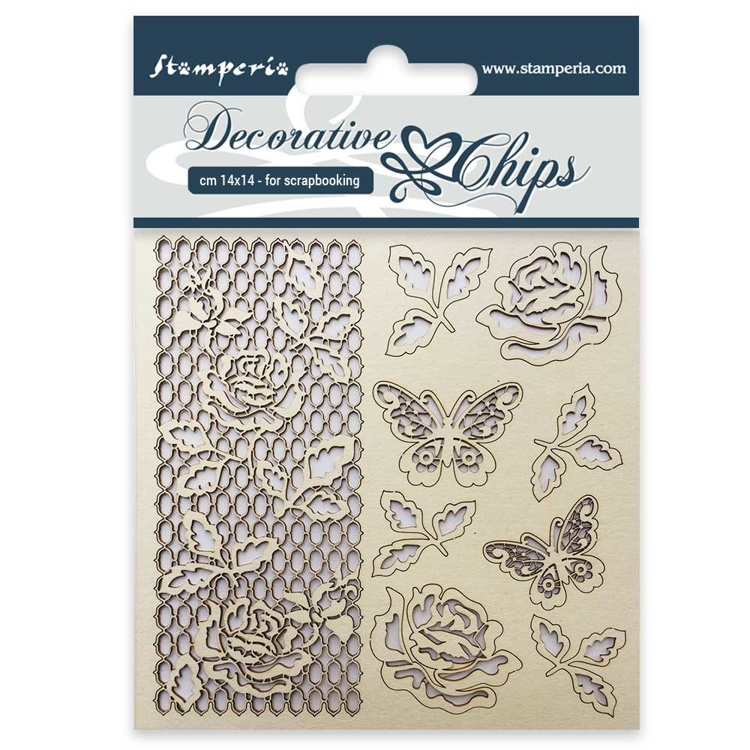 Stamperia - Decorative Chips -  Rose and Butterfly