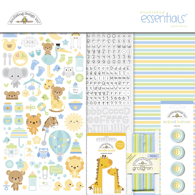Doodlebug - Special Delivery - Baby Boy - Essentials Kit