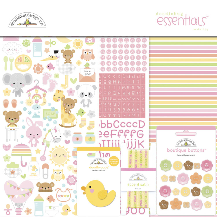 Doodlebug - Special Delivery - Baby Girl - Essentials Kit