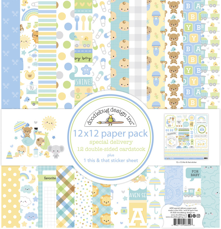 Doodlebug - Special Delivery - Baby Boy - Paperpack 30,5 x 30,5 cm