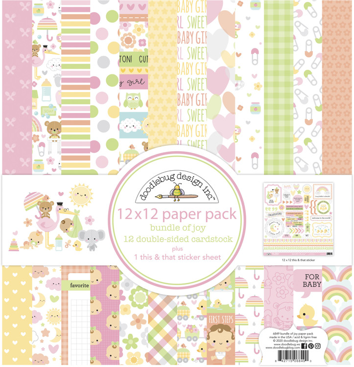 Doodlebug - Special Delivery - Baby Girl - Paperpack 30,5 x 30,5 cm