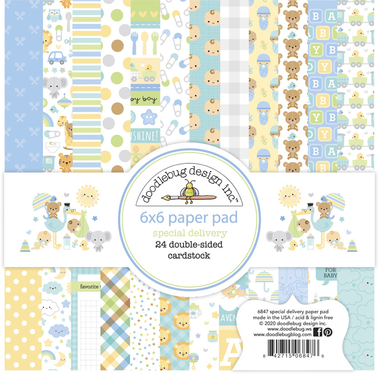 Doodlebug - Special Delivery - Baby Boy - Paperpad 15,2 x 15,2 cm