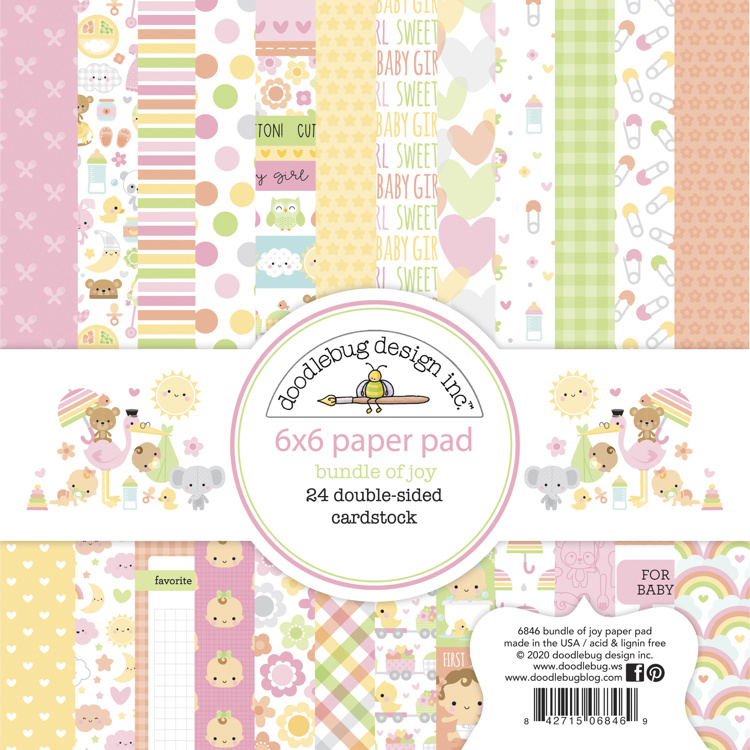 Doodlebug - Special Delivery - Baby Girl - Paperpad 15,2 x 15,2 cm