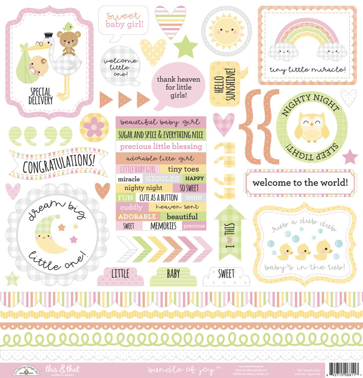 Doodlebug - Special Delivery - Baby Girl - This & That Stickers