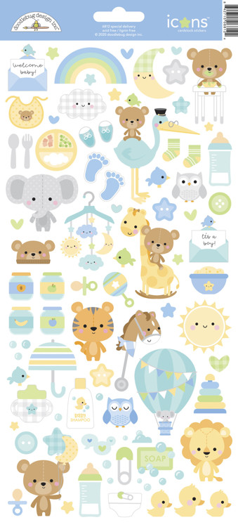 Doodlebug - Special Delivery - Baby Boy - Icon Stickers