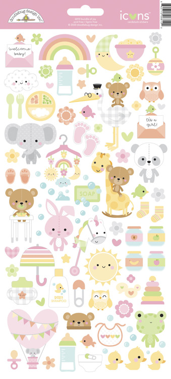 Doodlebug - Special Delivery - Baby Girl - Icon Stickers