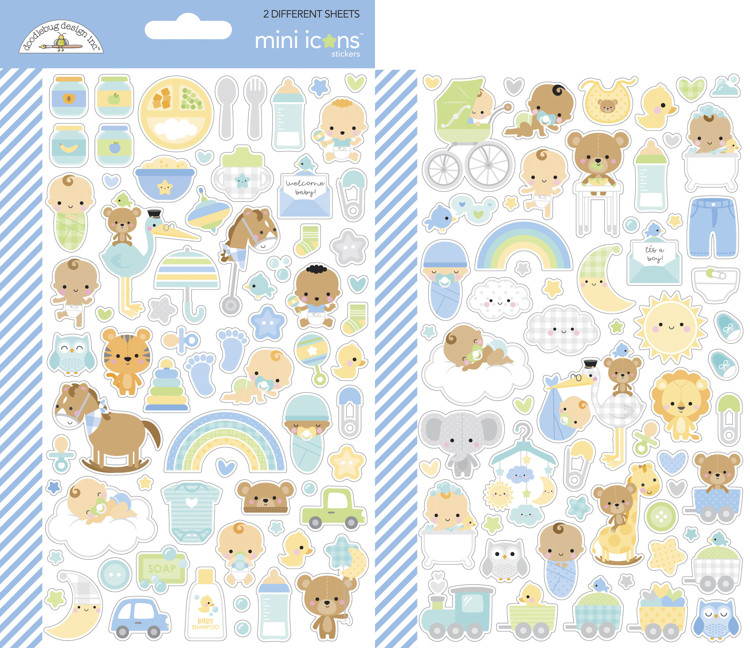 Doodlebug - Special Delivery - Baby Boy - Mini Icons Stickers