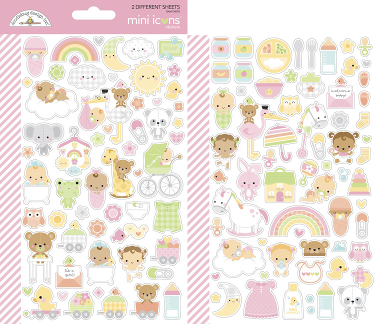 Doodlebug - Special Delivery - Baby Girl - Mini Icons Stickers