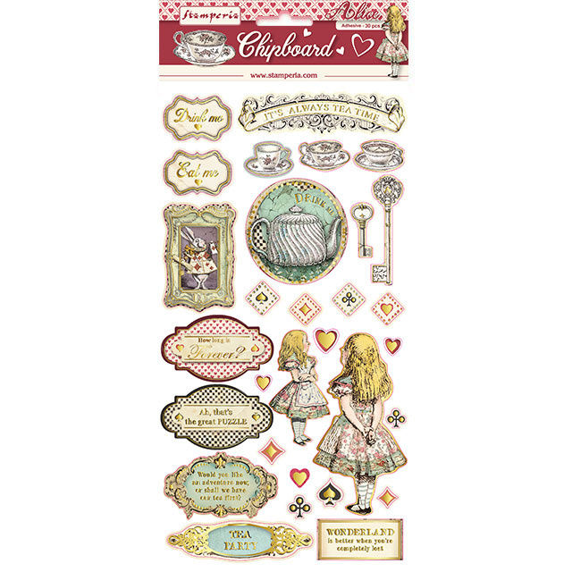 Stamperia - Chipboard 15x30cm - Alice (with Gold)