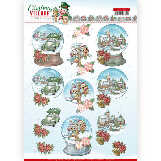 3D cutting sheet - Yvonne Creations - Christmas Village - Christmas Globes