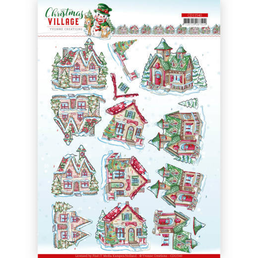 3D cutting sheet - Yvonne Creations - Christmas Village - Christmas Houses