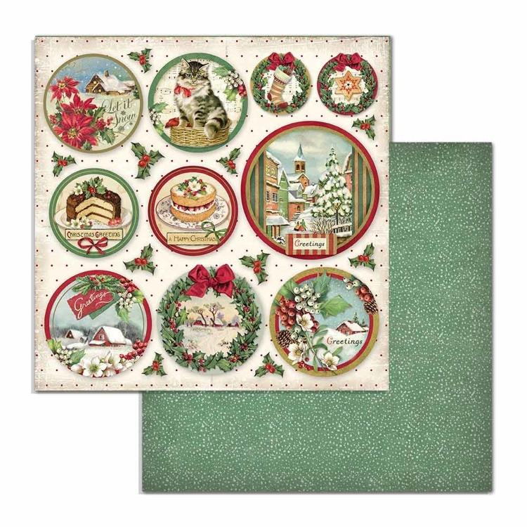 Paper Sheet Stamperia - 30,5 x 30,5 - Rounds - Classic Christmas