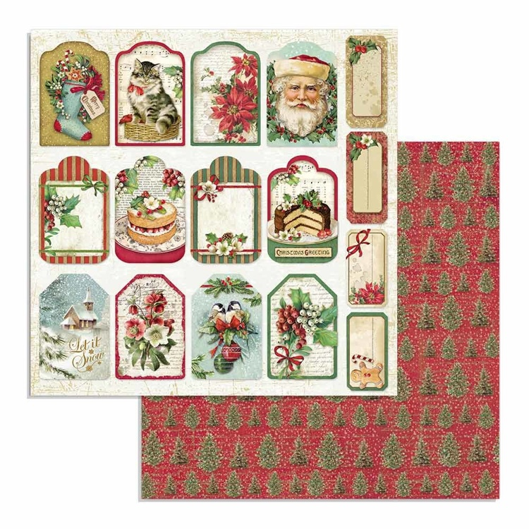 Paper Sheet Stamperia - 30,5 x 30,5 - Tag - Classic Christmas