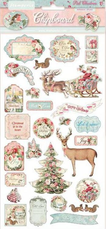 Stamperia - Chipboard 15x30cm -  Pink Christmas