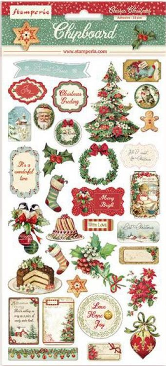 Stamperia - Chipboard 15x30cm -  Classic Christmas