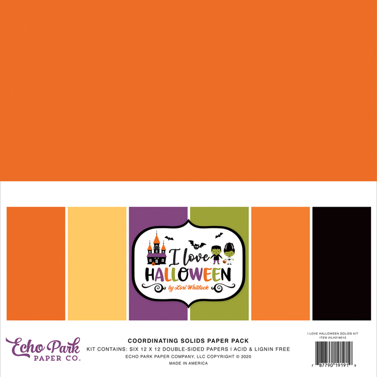 Echo Park - I love Halloween  - Solids paperpack