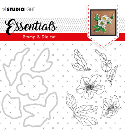 Studio Light - Stamp & Die Cut Set - Essentials - Christmas Rose nr.48
