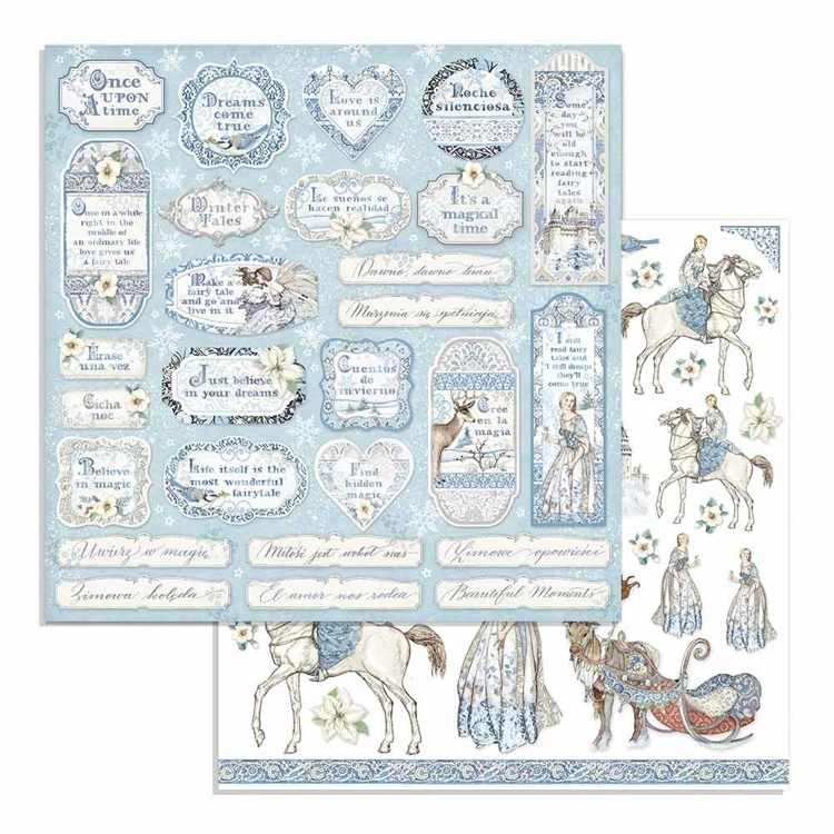 Paper Sheet Stamperia - 30,5 x 30,5 - Rounds - Winter Tales Tags & Frames