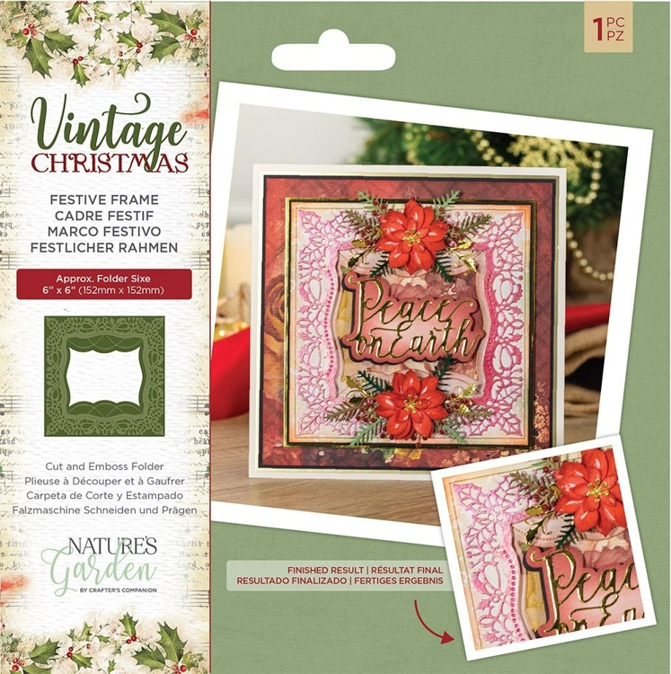 Crafter's Companion - Vintage Christmas -  Festive Frame Cut & Emboss Folder