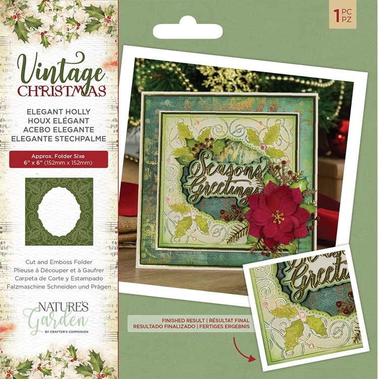 Crafter's Companion - Vintage Christmas - Elegant Holly Cut & Emboss Folder