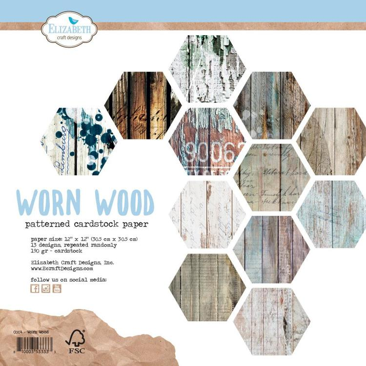 Elizabeth Craft Design - Paperpad 30,5 x 30,5 cm - Worn Wood