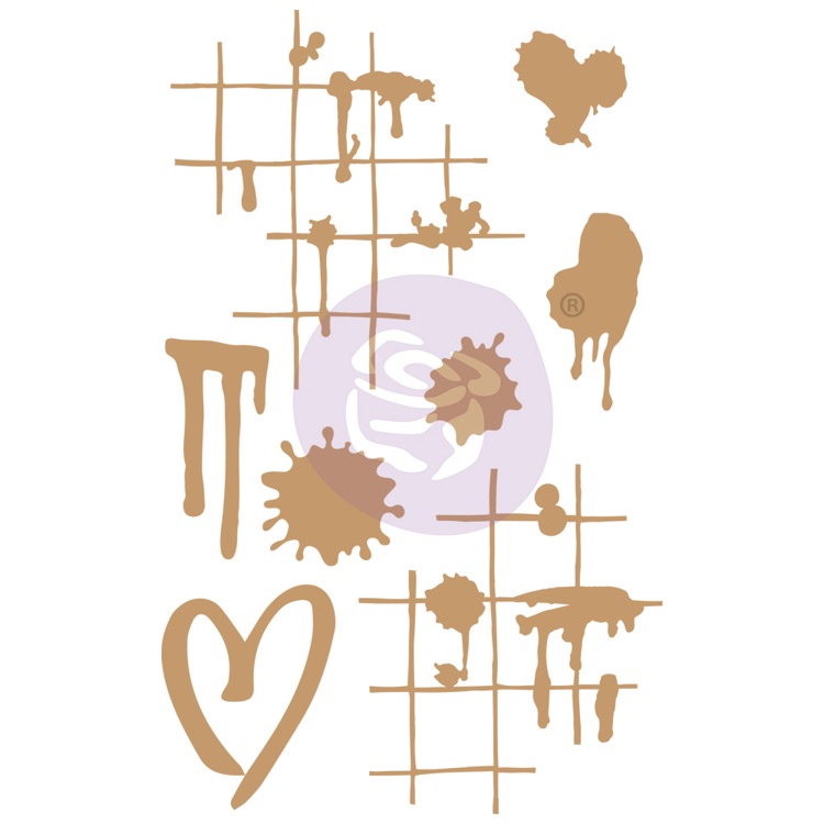 Prima Marketing - Chipboard Die-Cut - Ink & Splatters - 8 PCS
