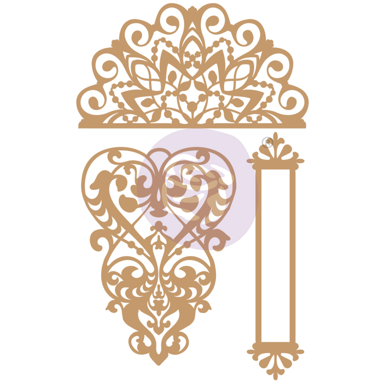 Prima Marketing - Chipboard Die-Cut - Lace & Heart - 3 PCS