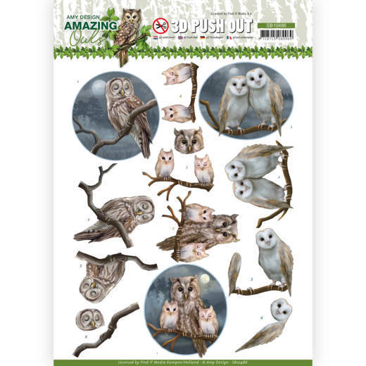 3D Push Out - Amy Design - Amazing Owls - Night Owls