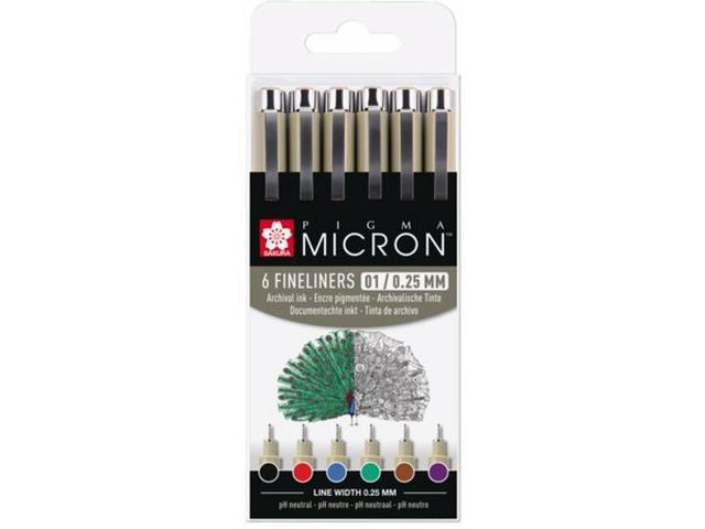 Sakura - Pigma Micron - 6pcs 0,25mm Basic colours