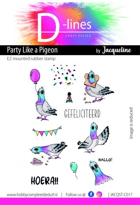 D-Lines - EZ mounted rubber stamps - Special Edition Party like a Pigeon