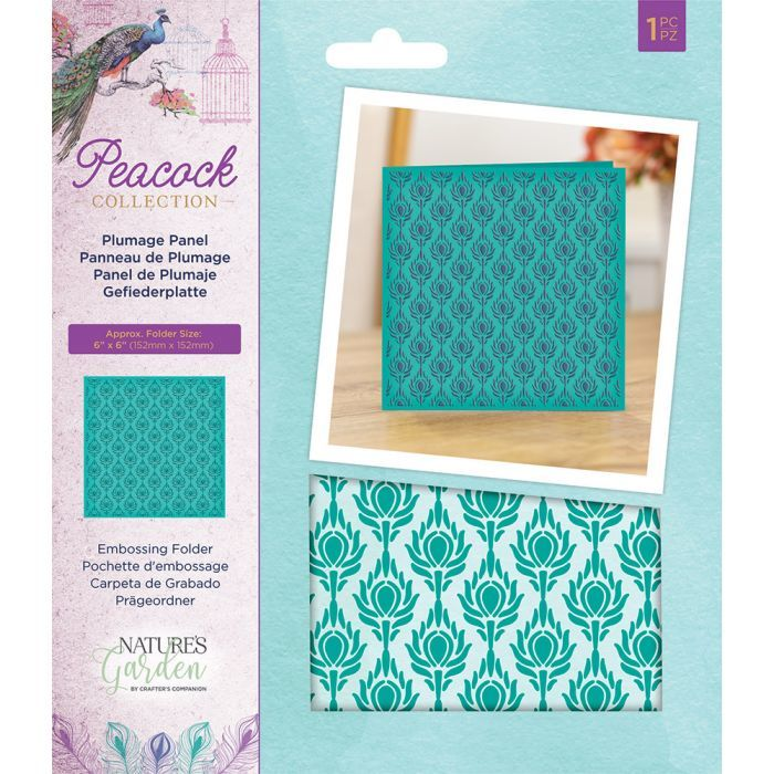Crafter's Companion - Peacock - Embossing Folder Plumage Panel