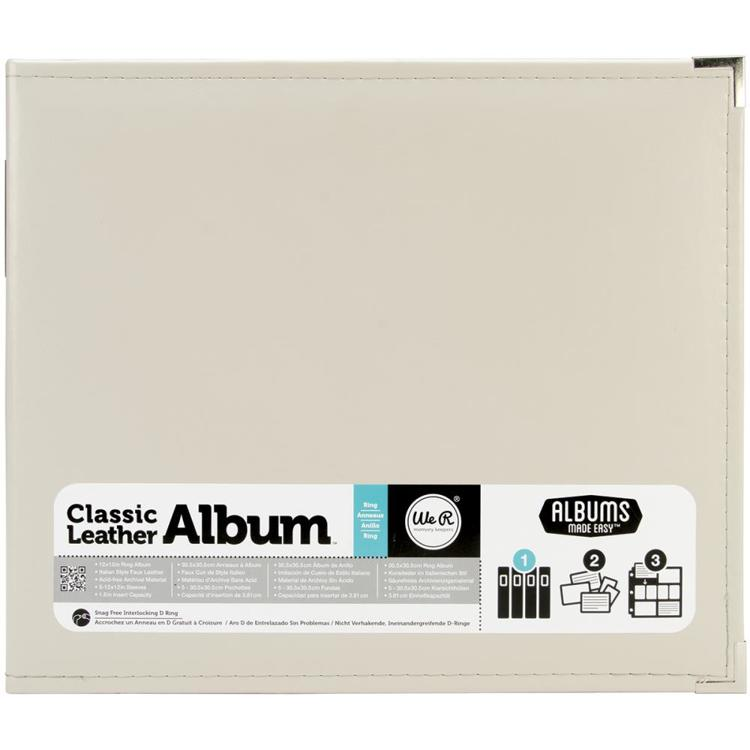 "We R Memory Keepers - Classic Leather D-Ring Album - 12"" x 12"" - Greige"